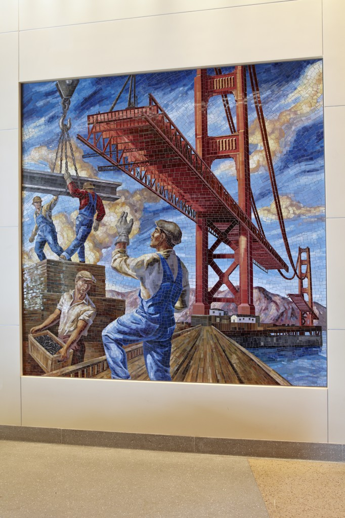 Owen Smith's mosaic of the Golden Gate Bridge during construction. Photo by Bruce Damonte