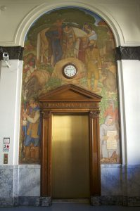 Berkeley Main Post office, interior, mural and wood work surrounding elevator entrance