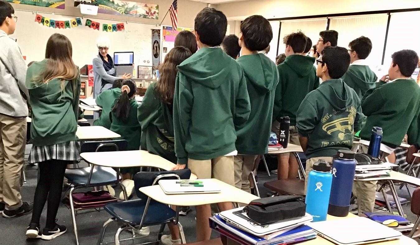 Cindy Heitzman with Students