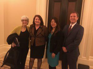 Cindy Heitzman along Senate President pro Tem Toni Atkins, State Treasurer Fiona Ma, and Mark Christian from AIA California.